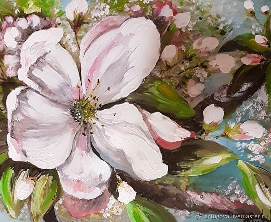 Картины цветов ручной работы. Ярмарка Мастеров - ручная работа. Купить Яблоневый цвет. Handmade. Цветы, картина, пейзаж, яблоня