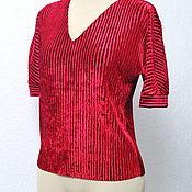 Одежда handmade. Livemaster - original item Velvet blouse with pleated V-neck. Handmade.