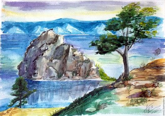 """Пейзаж ручной работы. Ярмарка Мастеров - ручная работа. Купить Акварель """"Байкал"""". Handmade. Синий, озеро, акварельная картина"""