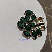 handmade. Livemaster - original item 1pc Czech rhinestone 10h5mm Emerald Navette rhinestones in DACs. Handmade.