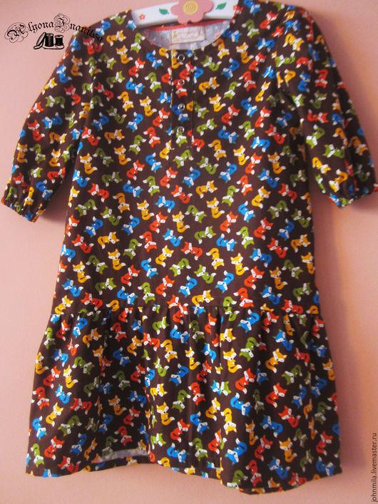 """Одежда для девочек, ручной работы. Ярмарка Мастеров - ручная работа. Купить хлопковое платье """"Лисята"""". Handmade. Хлопок 100%, лисята"""