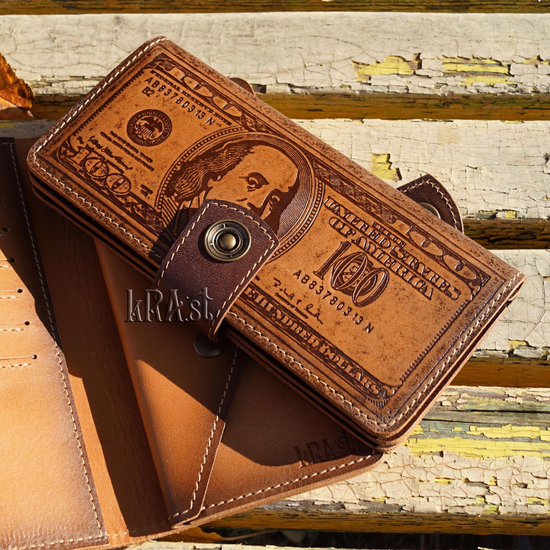 """Портмоне """"100 долларов"""" натуральная кожа, Кошельки, Тольятти,  Фото №1"""
