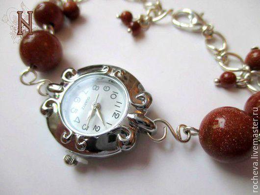 """Часы ручной работы. Ярмарка Мастеров - ручная работа. Купить Часы """"Авантюрин"""". Handmade. Коричневый, авантюрин, украшения ручной работы"""
