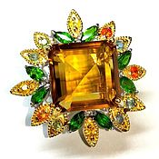 Украшения handmade. Livemaster - original item The ring of Prestige with a natural citrine with chromediopsides. Handmade.
