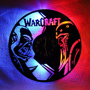 For home and interior handmade. Livemaster - original item Wall clock with led light from Warcraft record. Handmade.