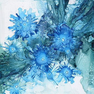 Pictures and panels handmade. Livemaster - original item Painting: blue flowers. Handmade.
