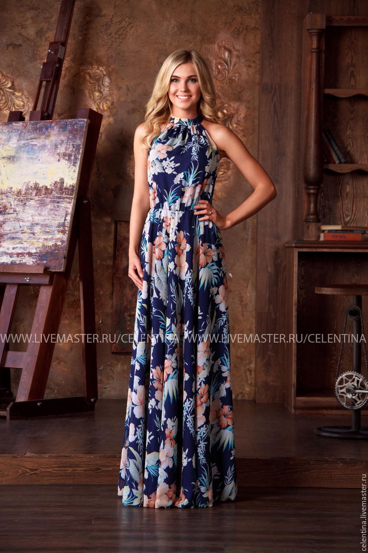 7cbe0829d74306d Длинное летнее платье без рукавов, Синее нарядное платье в пол, красивое  платье из шифона ...