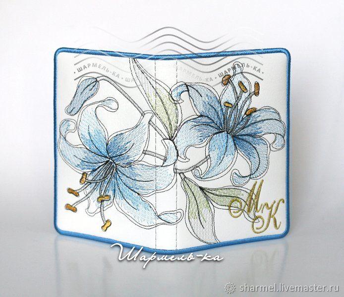 Блокнот именной вышитый `Голубые лилии`.  Полезные вещицы от Шармель-ки