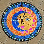 Для дома и интерьера ручной работы. Ярмарка Мастеров - ручная работа часы солнце и месяц. Handmade.