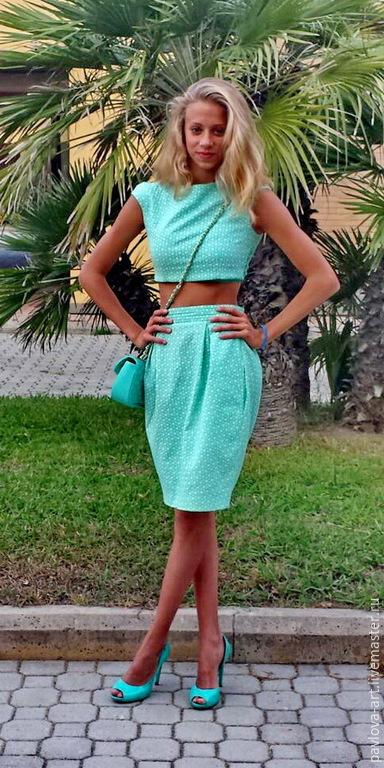Платья ручной работы. Ярмарка Мастеров - ручная работа. Купить Комплект юбка с топом летние. Handmade. В горошек