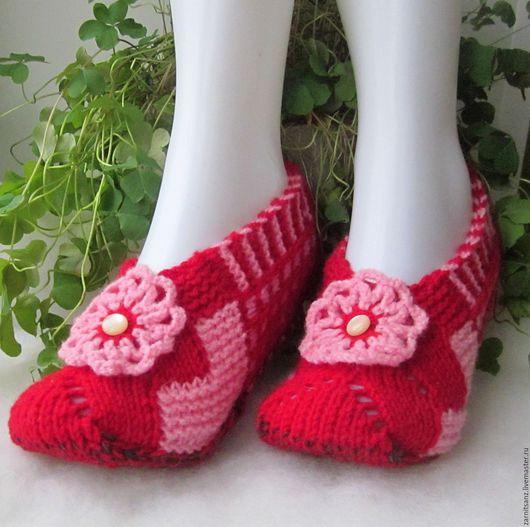 Обувь ручной работы. Ярмарка Мастеров - ручная работа. Купить тапочки женские Кокетка красные подарок на 8 марта. Handmade.