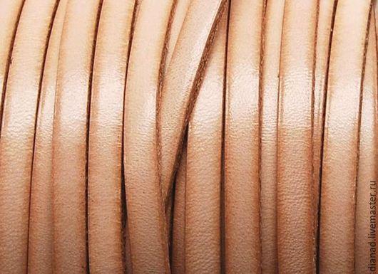 Для украшений ручной работы. Ярмарка Мастеров - ручная работа. Купить Кожаный шнур 5 мм плоский, цвет натуральный. Handmade.