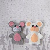 Кукольный театр ручной работы. Ярмарка Мастеров - ручная работа Мышка серая, мышь белая. Пальчиковый театр. Handmade.