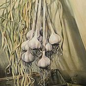 Картины и панно ручной работы. Ярмарка Мастеров - ручная работа Чеснок на чердаке. Картина маслом. Handmade.