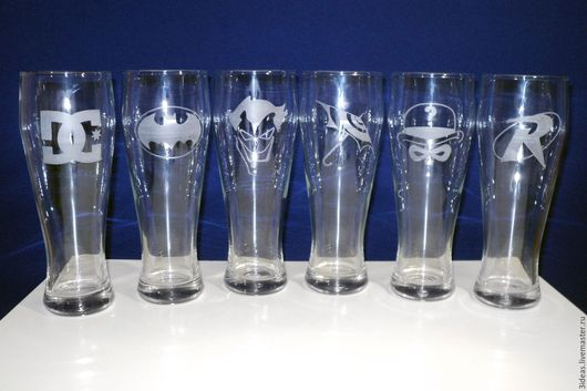 Бокалы, стаканы ручной работы. Ярмарка Мастеров - ручная работа. Купить Набор пивных бокалов с героями DC. Handmade.