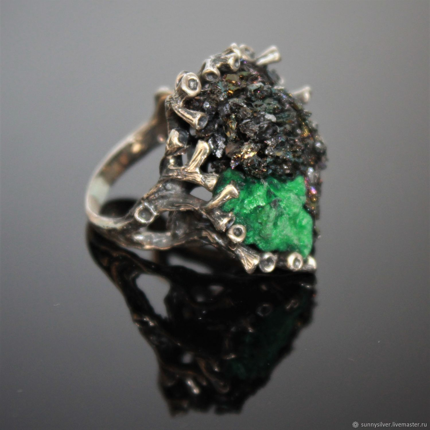 Nikolet ring in silver with malachite and carborundum, Rings, Yerevan,  Фото №1