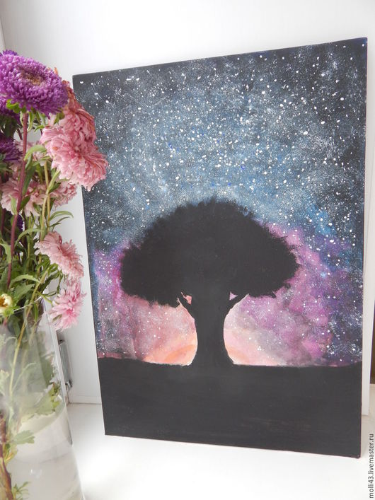 Пейзаж ручной работы. Ярмарка Мастеров - ручная работа. Купить картина. Handmade. Черный, дерево, пейзаж, хлопок 100%