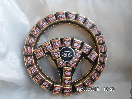 Персональные подарки ручной работы. Ярмарка Мастеров - ручная работа. Купить Сладкий руль из конфет. Handmade. Комбинированный