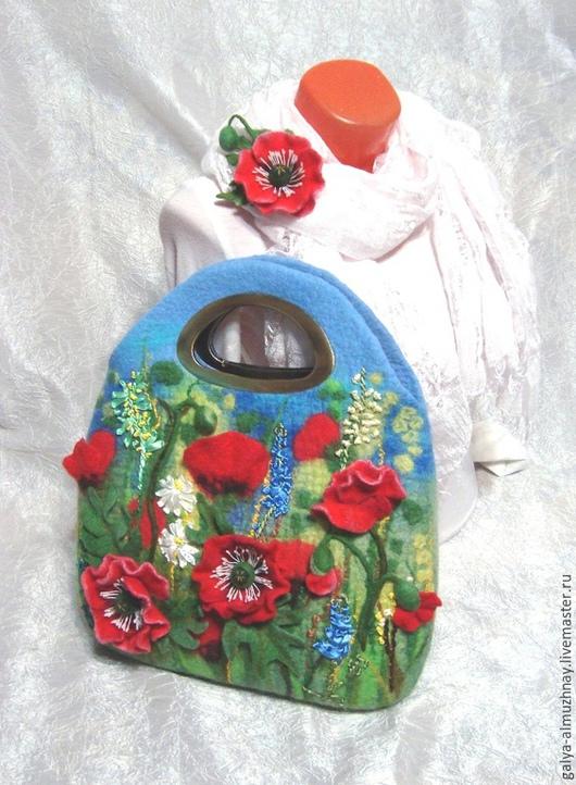 """Женские сумки ручной работы. Ярмарка Мастеров - ручная работа. Купить валяная сумка """"Маковая"""". Handmade. Валяная сумка"""