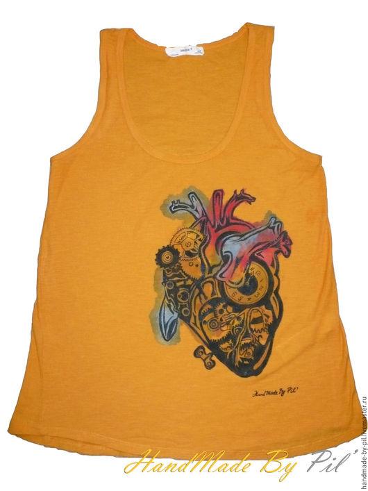 """Стимпанк ручной работы. Ярмарка Мастеров - ручная работа. Купить Женская майка  """"Steampunk heart"""". Handmade. Оранжевый, акрил, майка"""