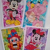 """набор почтовых открыток""""герои любимых мультфильмов""""набор из 4 шт"""