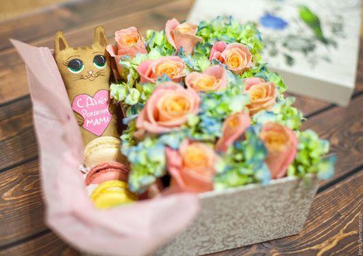 """Интерьерные композиции ручной работы. Ярмарка Мастеров - ручная работа. Купить Цветочная коробка """"Сердечная"""". Handmade. Розовый, цветочная коробка"""