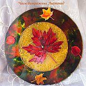 Для дома и интерьера ручной работы. Ярмарка Мастеров - ручная работа Часы витражные Листопад. Handmade.