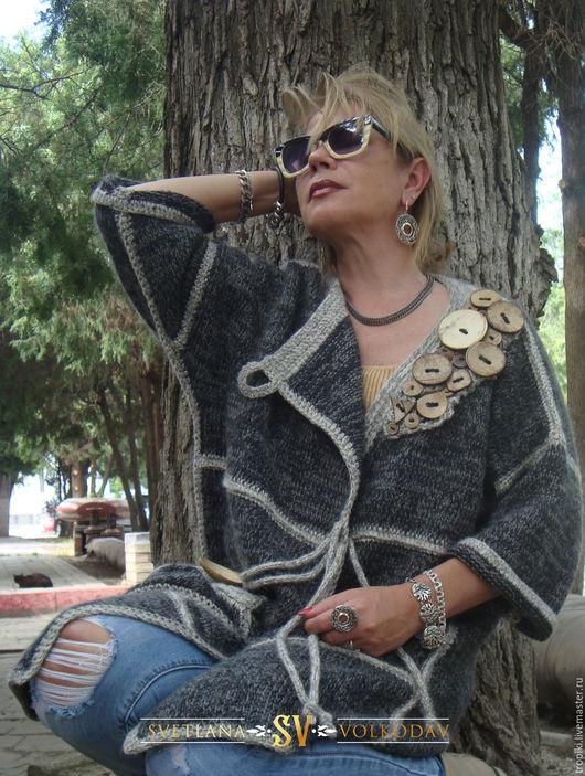 Верхняя одежда ручной работы. Ярмарка Мастеров - ручная работа. Купить Пальто вязаное с пуговицами авторское. Handmade. Серый