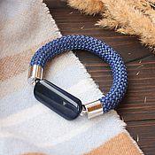 Украшения ручной работы. Ярмарка Мастеров - ручная работа Браслет на шнуре с синим агатом. Handmade.