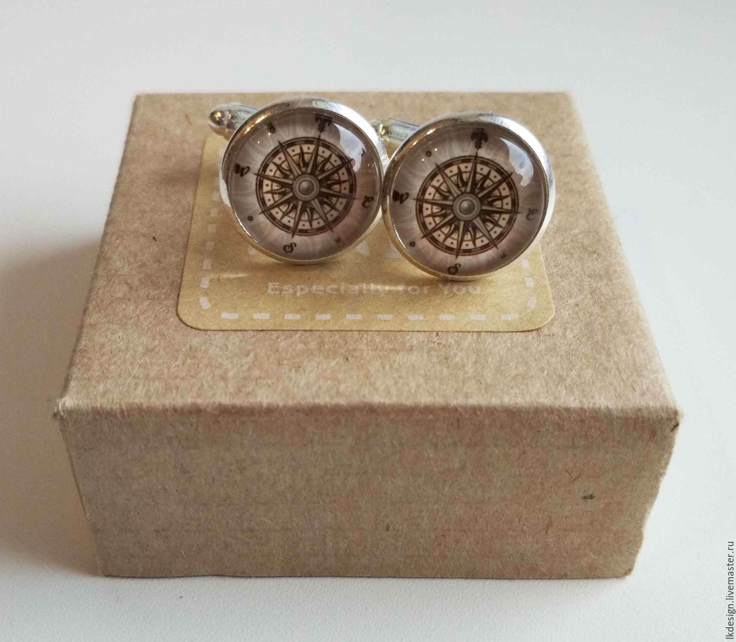 Cufflinks silver plated rose of the winds, Cuff Links, Moscow,  Фото №1
