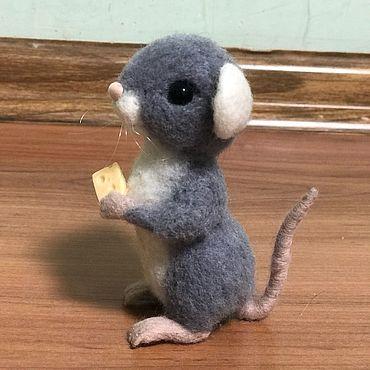 Куклы и игрушки ручной работы. Ярмарка Мастеров - ручная работа Мышь из шерсти. Авторская работа. 100% шерсть. Handmade.