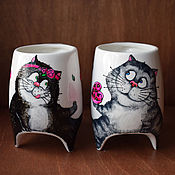 """Посуда ручной работы. Ярмарка Мастеров - ручная работа """"Сладкая парочка 2"""" - чашки с ножками (0735). Handmade."""