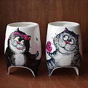 """Посуда ручной работы. Ярмарка Мастеров - ручная работа """"Сладкая парочка 2"""" - чашки с ножками. Handmade."""