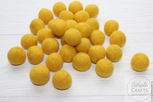 Валяние ручной работы. Ярмарка Мастеров - ручная работа. Купить Войлочный шарик желтый (шарик из шерсти, бусина из шерсти). Handmade.