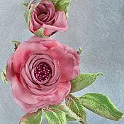Украшения handmade. Livemaster - original item Silk flowers rose brooch free shipping