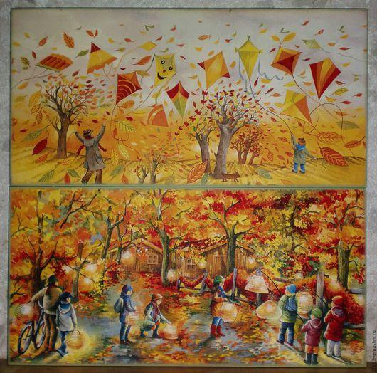 """Кухня ручной работы. Ярмарка Мастеров - ручная работа. Купить """"Осенние радости"""" Разделочная доска панно. Handmade. Комбинированный, осень"""