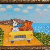 Картины ручной работы. Ярмарка Мастеров - ручная работа Дорога вдоль моря. Handmade.