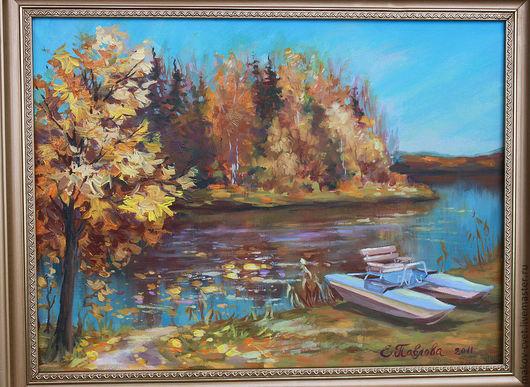 Пейзаж ручной работы. Ярмарка Мастеров - ручная работа. Купить Осень на пруду. Handmade. Пейзаж, пейзаж маслом, картина