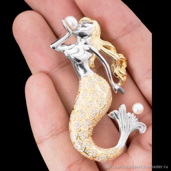 Brooch-pendant 'Sea maiden' silver, gilding, Brooches, Novaya Usman,  Фото №1