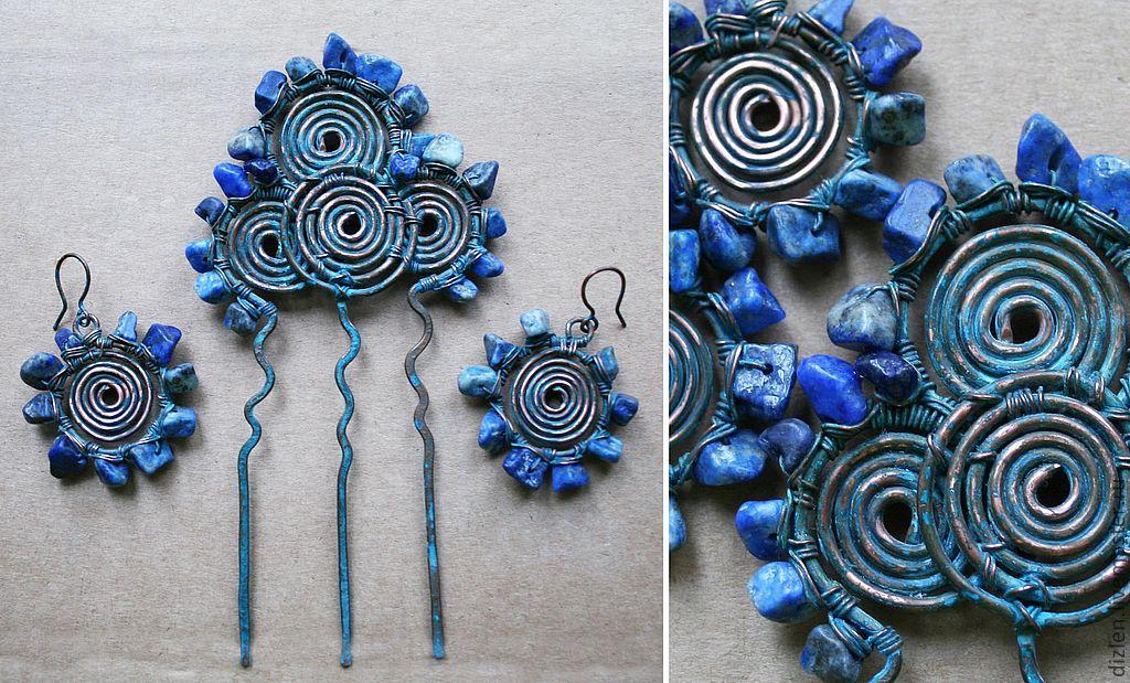 серьги из меди ручной работы нефрит коралл синий лазурит колесо руглые оригинальный сережки серёжки купить wirewrap медный