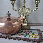 Посуда ручной работы. Ярмарка Мастеров - ручная работа Кастрюля медная, старинная / антикварная, медь, дерево, Голландия. Handmade.