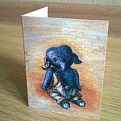 """Открытки ручной работы. Ярмарка Мастеров - ручная работа Открытка """" Синий слоник"""" мини. Handmade."""