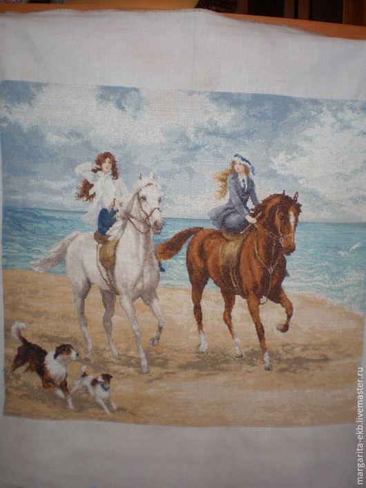 Картины цветов ручной работы. Ярмарка Мастеров - ручная работа. Купить Картина Прогулка. Handmade. Море, голубое небо, лошади