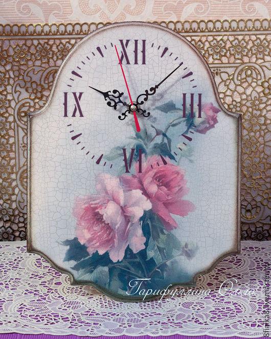 """Часы для дома ручной работы. Ярмарка Мастеров - ручная работа. Купить Часы """"Розы с кракелюром"""". Handmade. Часы, часы интерьерные"""