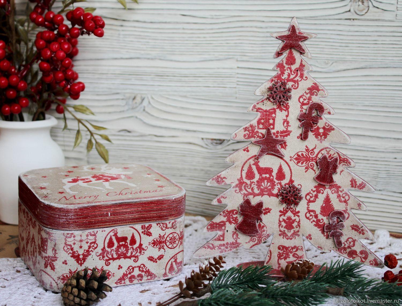 Новогодний набор: шкатулка-бонбоньерка и елочка, Шкатулки, Москва,  Фото №1