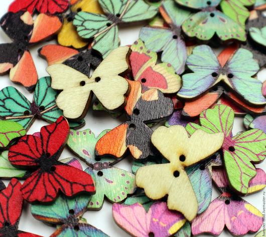 Шитье ручной работы. Ярмарка Мастеров - ручная работа. Купить Пуговицы бабочки  деревянные. Handmade. Комбинированный, древесина