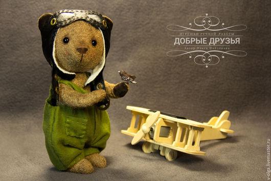 Мишки Тедди ручной работы. Ярмарка Мастеров - ручная работа. Купить Мишка пилот Алёшка. Handmade. Мишка тедди, летчик