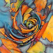 Аксессуары handmade. Livemaster - original item Scarves: Silk scarf stole leaf fall Batik silk 100%. Handmade.