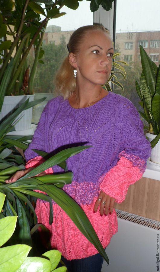 """Кофты и свитера ручной работы. Ярмарка Мастеров - ручная работа. Купить Лиловый свитер""""Необычные ромбы"""". Handmade. Свитер, яркий цвет"""