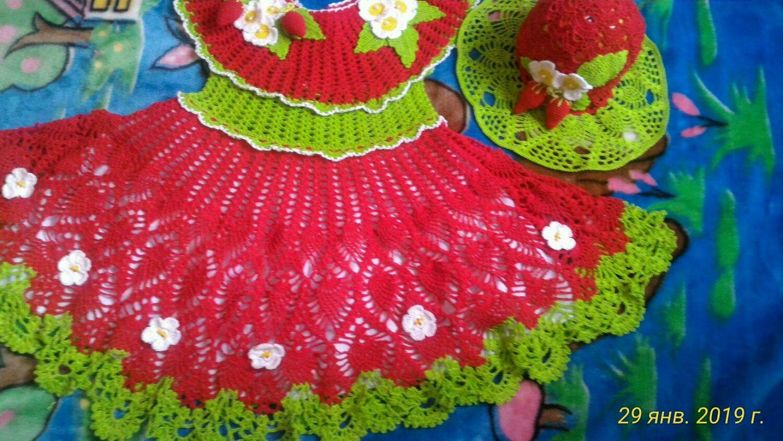 Платье для девочки Ажурное, вязаное крючком ,,Клубничка,,
